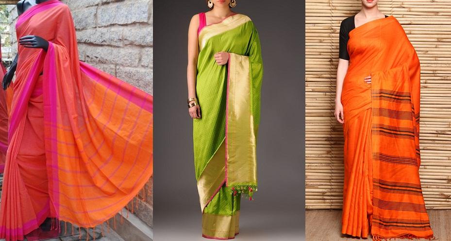 Hand woven sarees