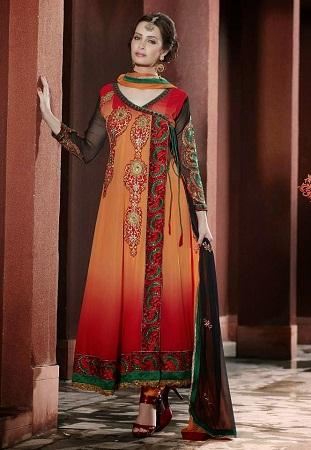 Angrakha collar Salwar Kameez