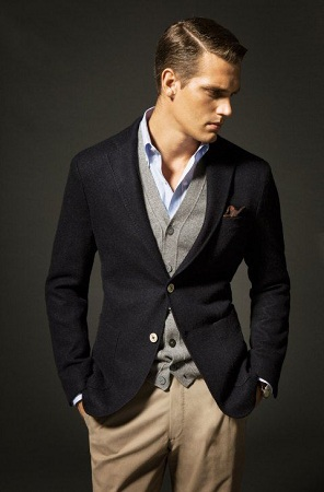 Blazer over a Cardigan and a Shirt