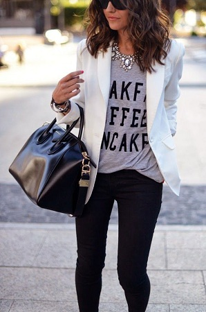 Blazer with Casual Tee and Jeans