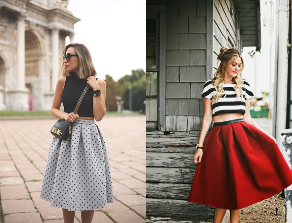 Crop Top With A Plain Midi Skirt