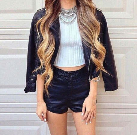 Crop Top With Blazer and High Waisted Shorts