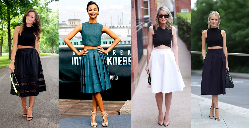 Crop Top With Midi Skirts