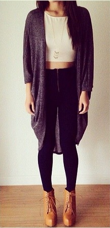 Crop top with cardigan
