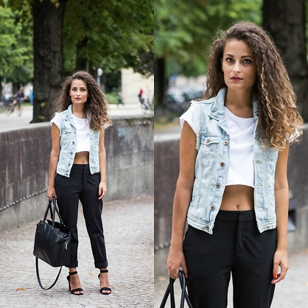 Crop top with denim vest