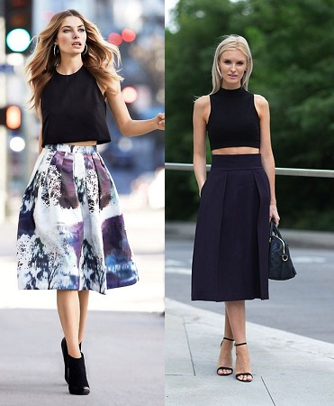 Crop tops with knee length midi skirts
