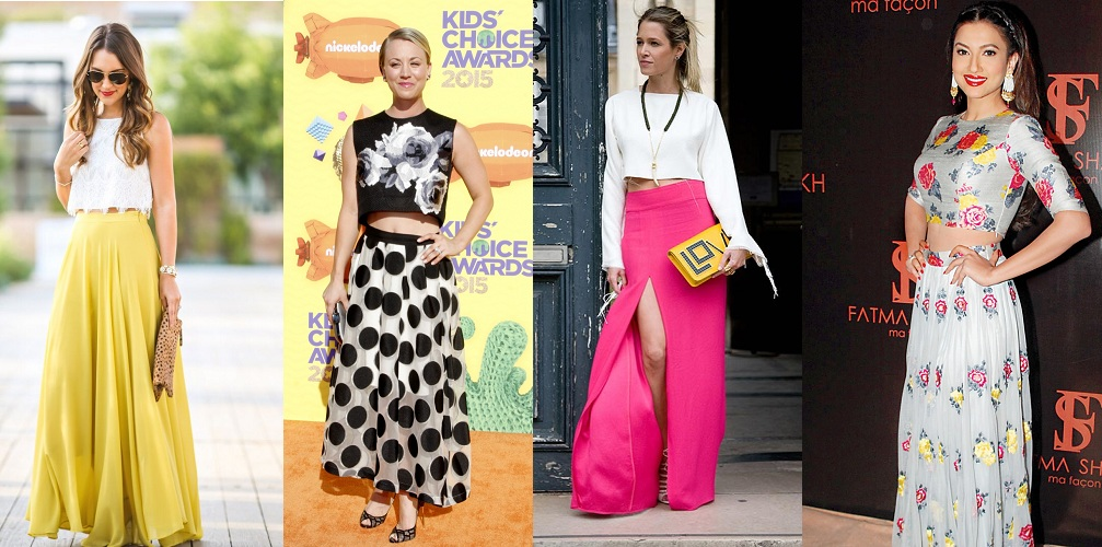 Crop tops with maxi skirt