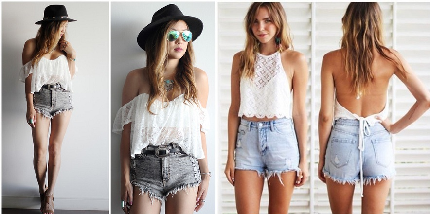 Different Crop tops with High Waisted Shorts