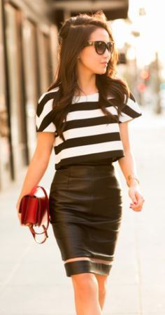 Flared crop top with pencil skirt