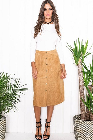 Front button Midi Skirt