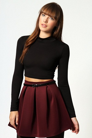 Long sleeved crop top with high necklines