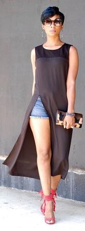 Long split tunic with shorts