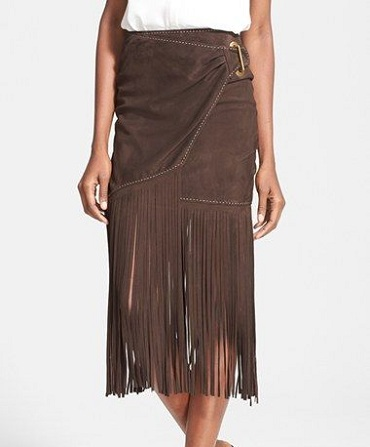 Midi skirt ending with fringes