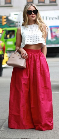 Solid Color Crop top and Maxi Skirt