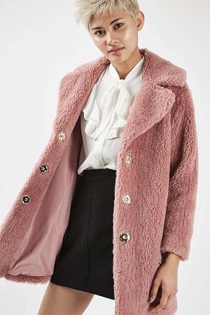 Top Shop Pink Casual Faux Fur Coat