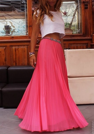 crop top with a flowy maxi skirt