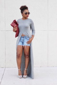 Split front tunic with shorts