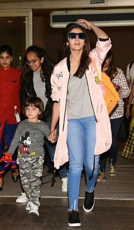 Alia Bhatt With AbRam At Mumbai Airport