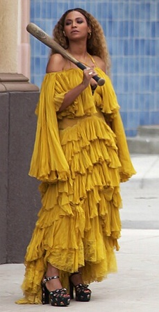 Beyonce Yellow Ruffle Dress