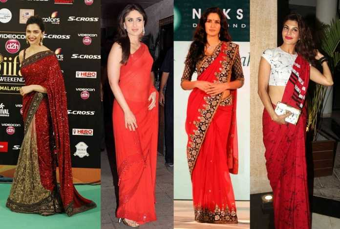 Bollywood Actresses in Red Saree