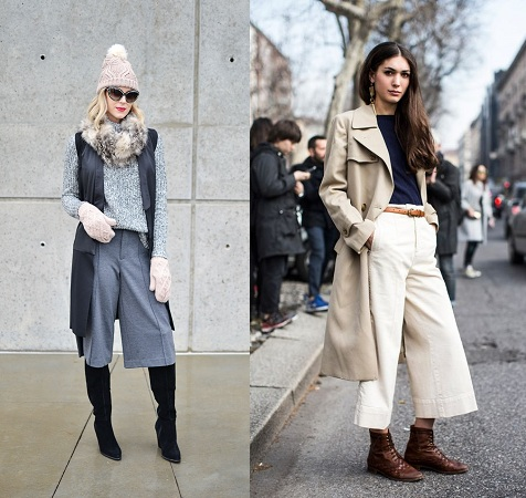 Colored Culottes With Neck Scarf And Belt