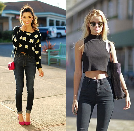 Crop Top With High Waist Jeans