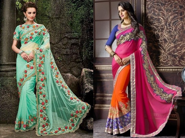 Designer Embroidered Saris
