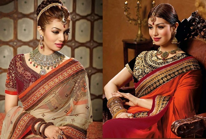 Designer Saree With Elegant Jewellery