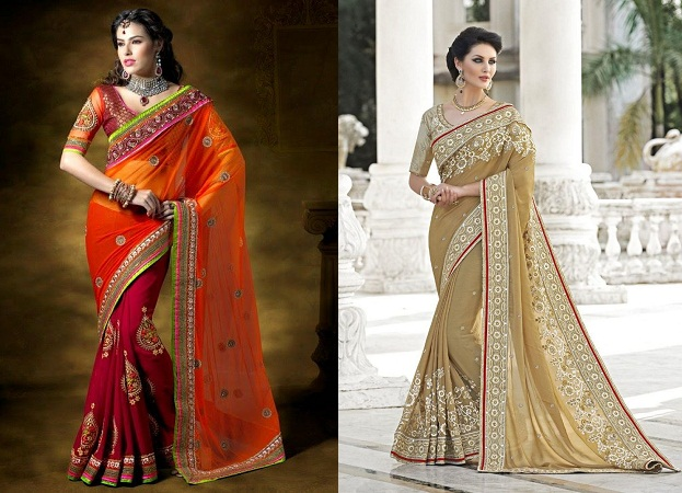 Festival Wear Designer Embroidered Saris