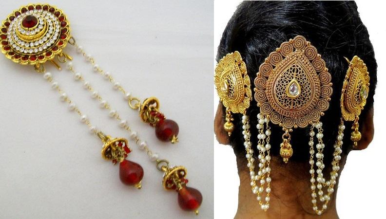 hair jewelry on bun hairstyle