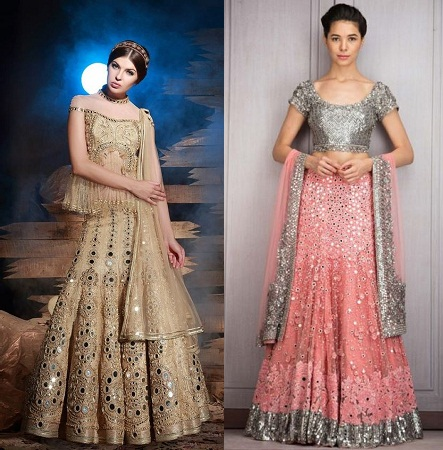 lehengas-with-crystal-and-mirror-works
