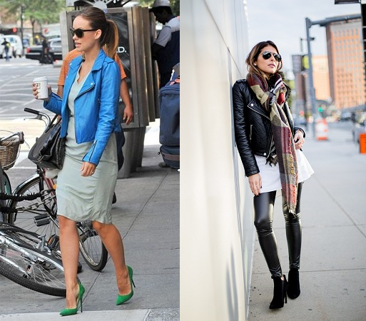 Moto Jacket With Scarf And Sunglasses