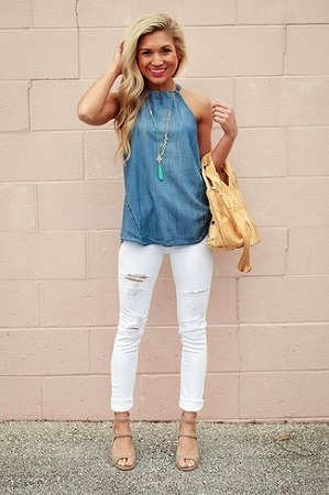 Sleeveless Top With Skinny Jeans