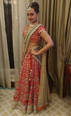 Sonakshi Sinha in Anita Dongre Bridal Lehenga