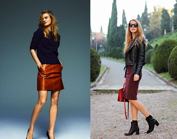 Leather Mini Skirt With Slim Fit Sweater