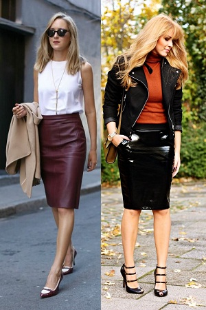 Lacquered Leather Skirt