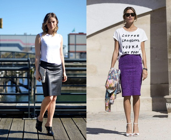 Pencil Skirt With Mules And Tee