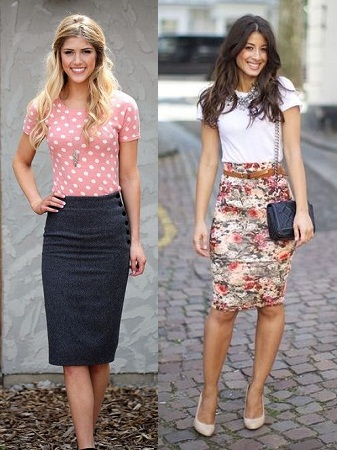 Pencil Skirt With Simple Top