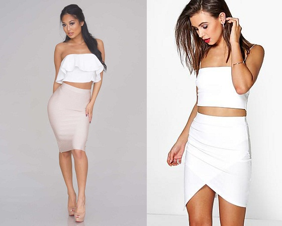 Pencil Skirt With White Ruffled Top
