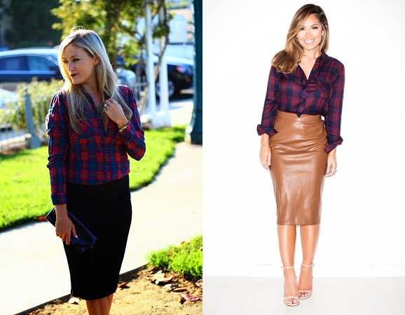 Plaid Shirt With Pencil Skirts