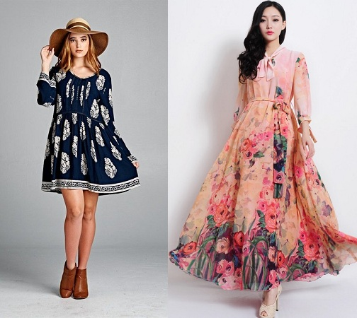 Printed loose dresses and frocks