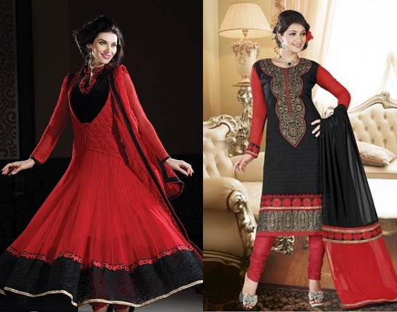 Salwars with red and black