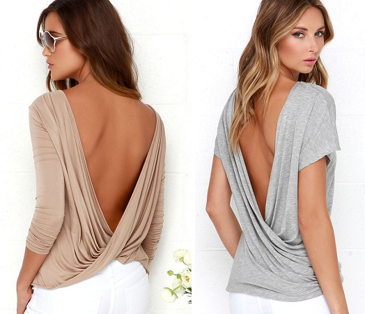 Twist backless Tops