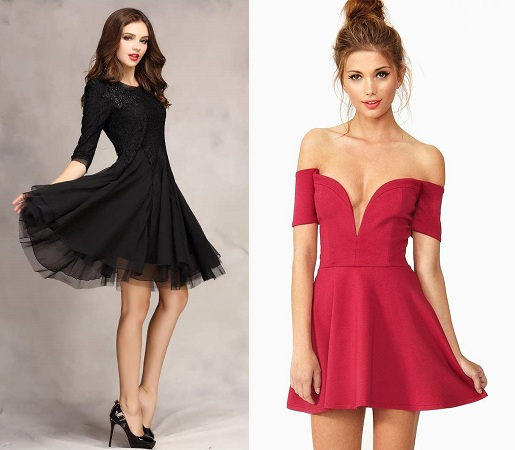 party wear one piece dresses knee length