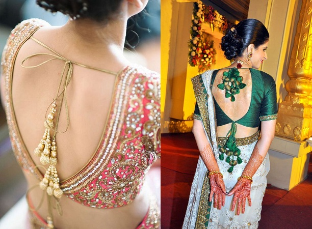 Backless blouse style with stone latkans and single top knot