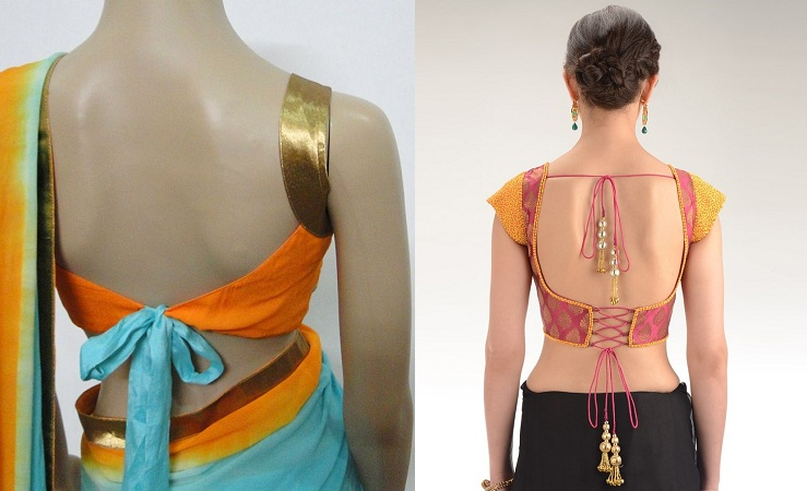Backless blouse style with waist strap knot of different shades