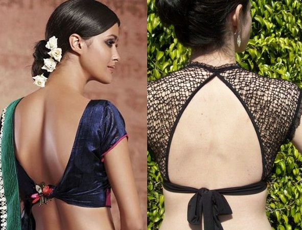 Blouse back with knotted waist strap