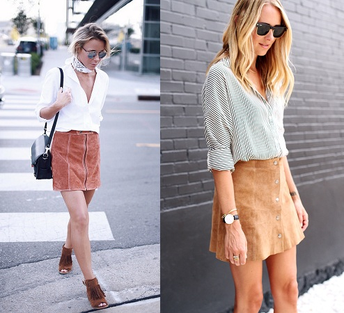 Button Down Shirts With Suede Skirts