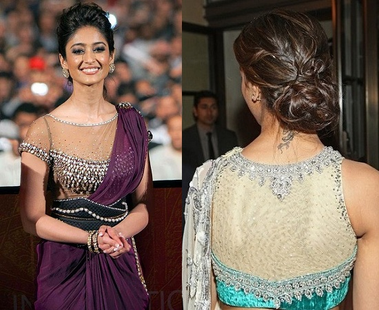 Celebrities In Sheer Saree Blouse