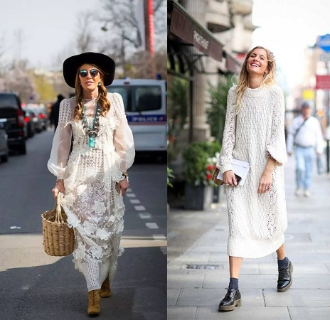 Leather Boots And Lace Maxi Dress
